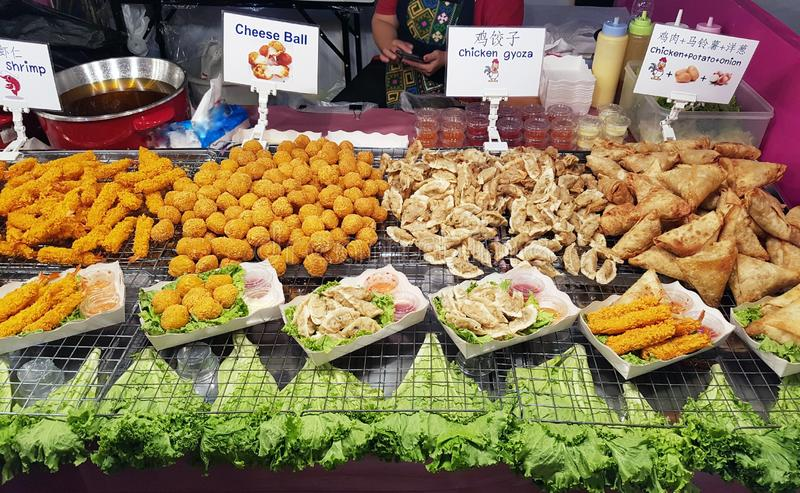 Large selection of street food in Thailand on the market. royalty free stock photos
