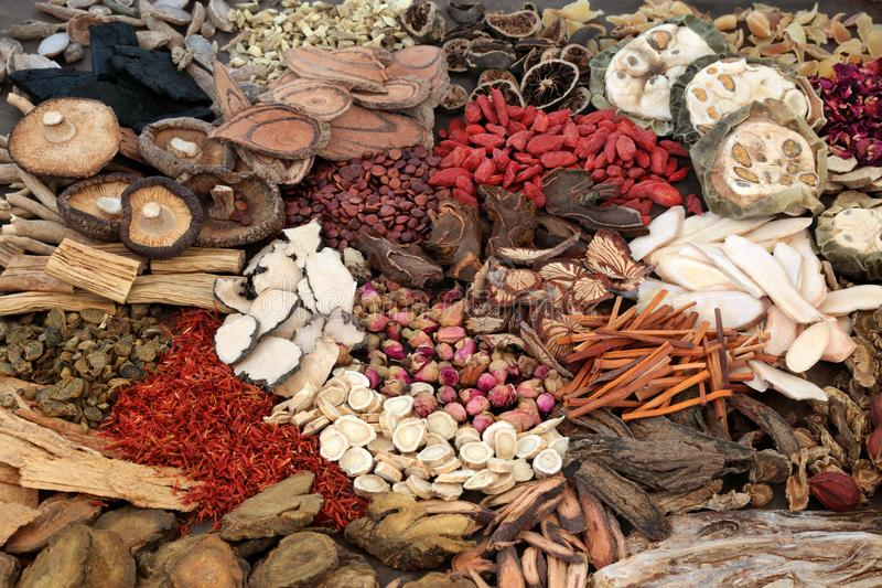 Traditional Chinese Herbs. Large selection of traditional chinese herbs used in herbal medicine forming a background stock image
