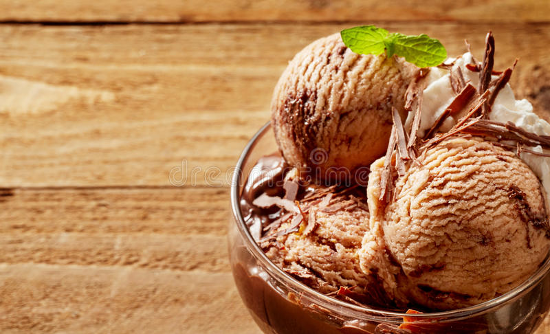 Large serving of chocolate ice cream in glass bowl stock image