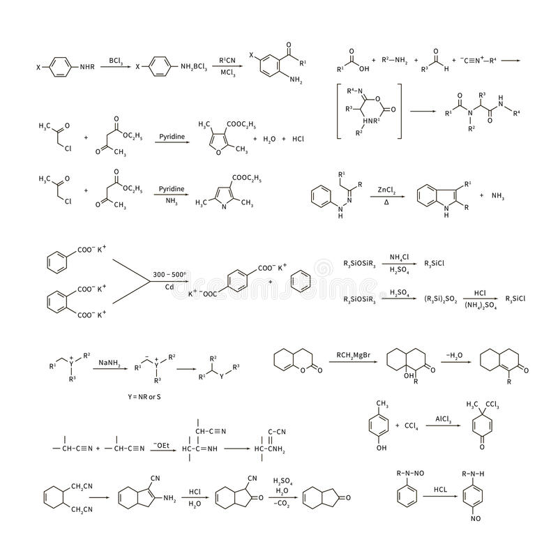 Large set of basic chemical reaction equations and formulas on white royalty free illustration
