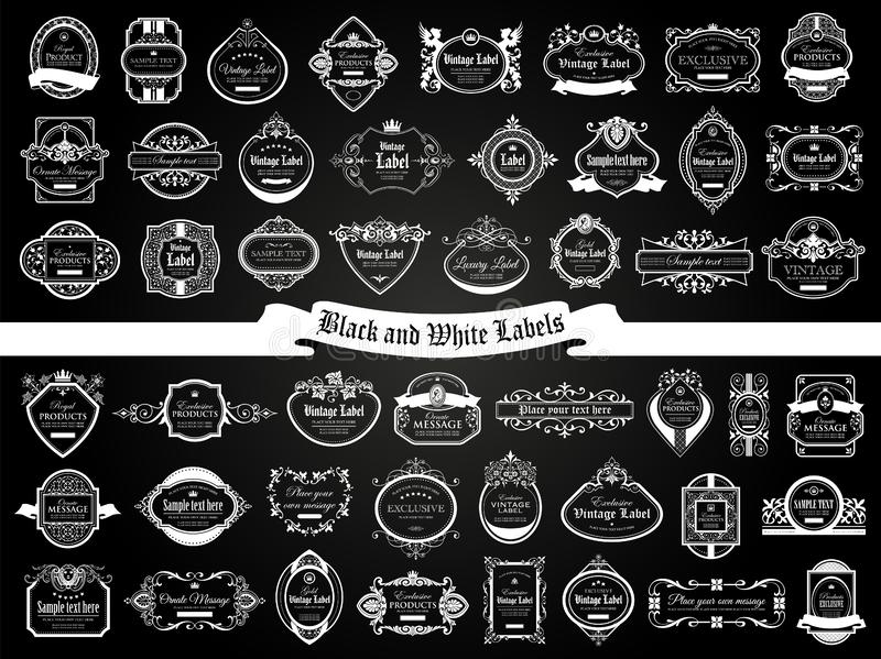 Large set of black white labels in vintage and retro style vector illustration