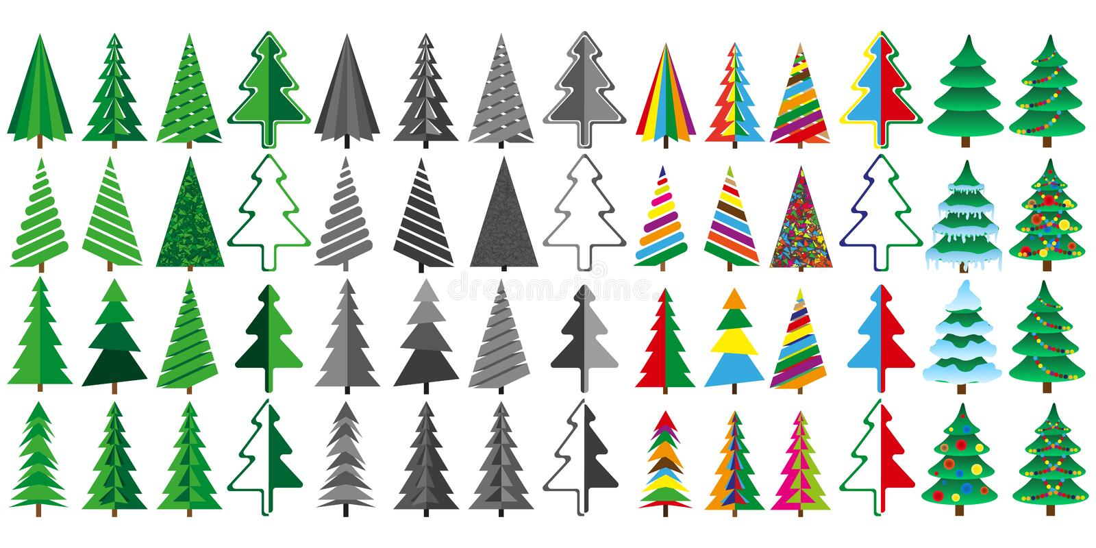 Large set of Christmas trees in color and gray. royalty free illustration