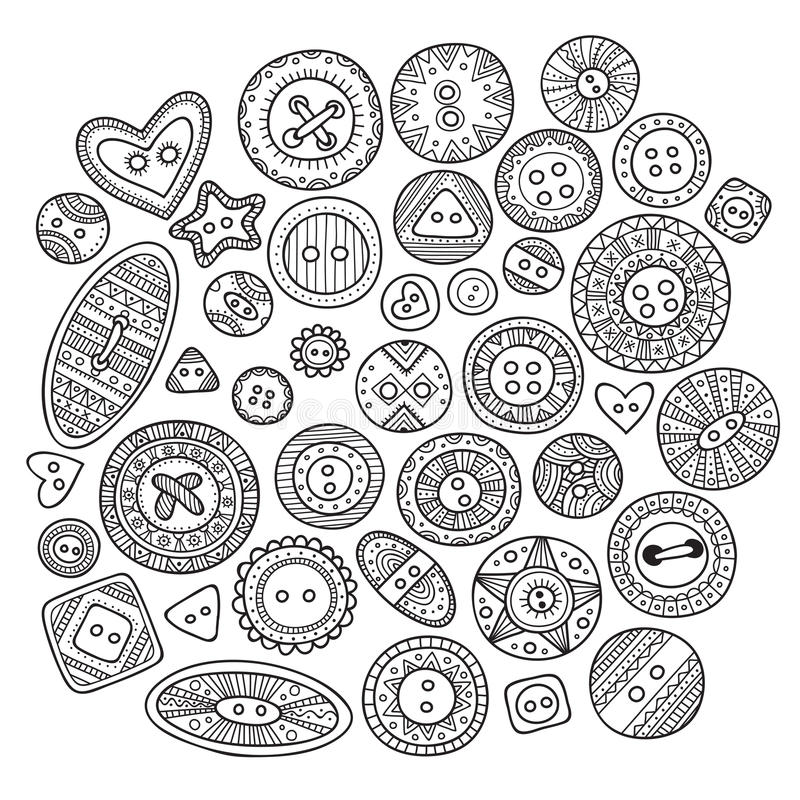 A large set of cloth buttons in different boho style designs wit vector illustration