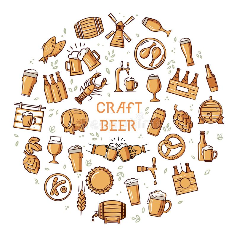 A large set of colorful icons on the topic of beer, its production and use in format. Circular hand-drawn a large set of colorful icons on the topic of beer, its royalty free stock photography