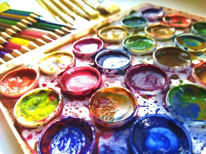 Large set of colors. colors mixed with a brush. stock images
