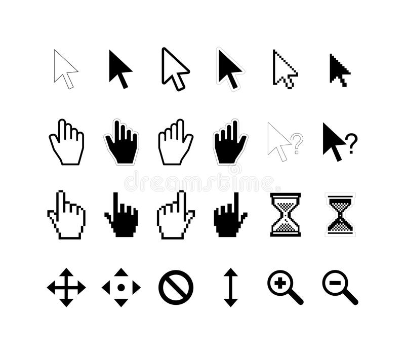 Large set of computer arrow cursors on white vector illustration