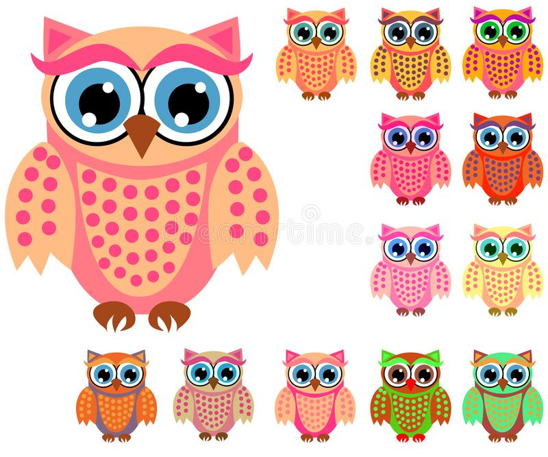 Large set of cute multicolored cartoon owls for children, different designs, trendy coral color vector illustration