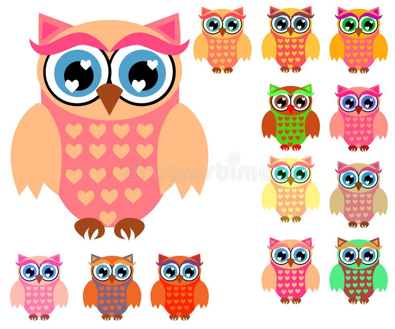 Large set of cute multicolored cartoon owls for children, different designs, trendy coral color stock illustration