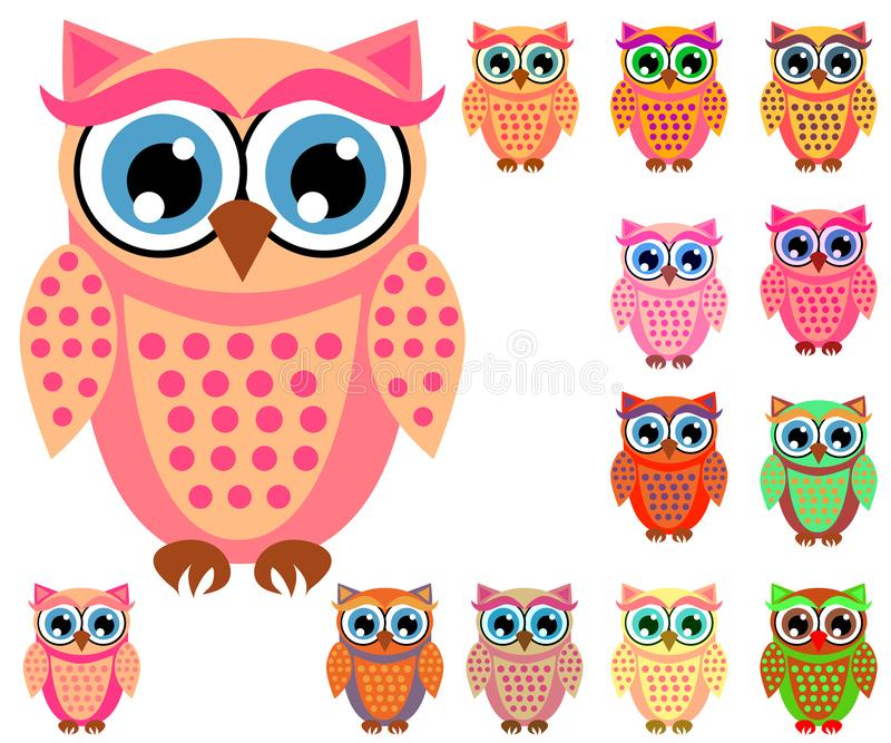 Large set of cute multicolored cartoon owls for children, different designs, trendy coral color royalty free illustration