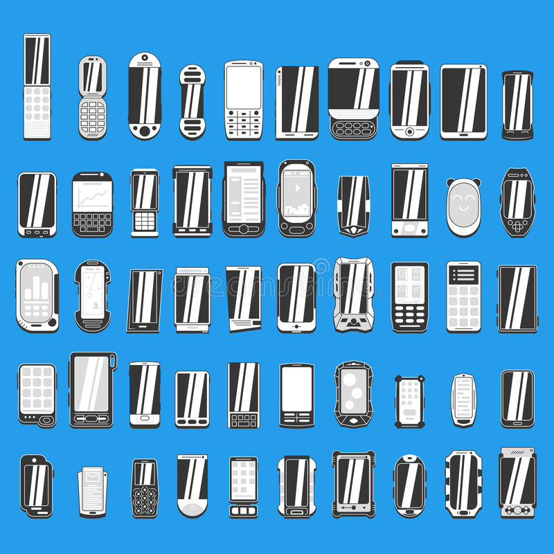 Large set of different abstract mobile phones part 1/2. Large set of different abstract mobile phones for use in design royalty free illustration