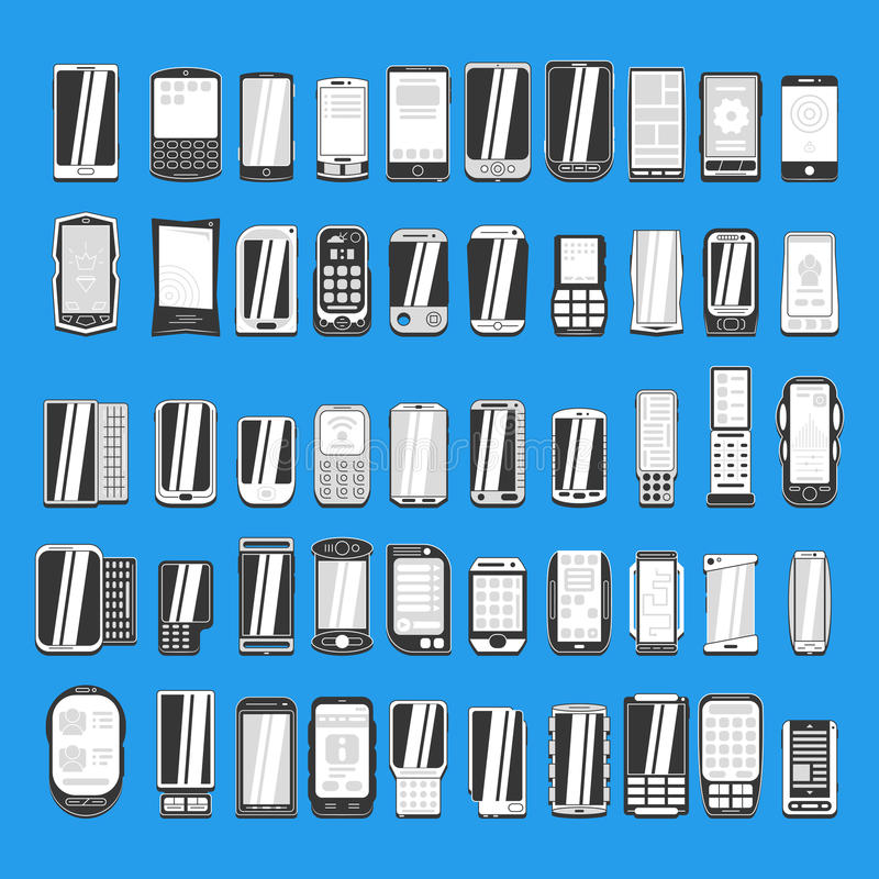 Large set of different abstract mobile phones part 2/2. Large set of different abstract mobile phones for use in design vector illustration