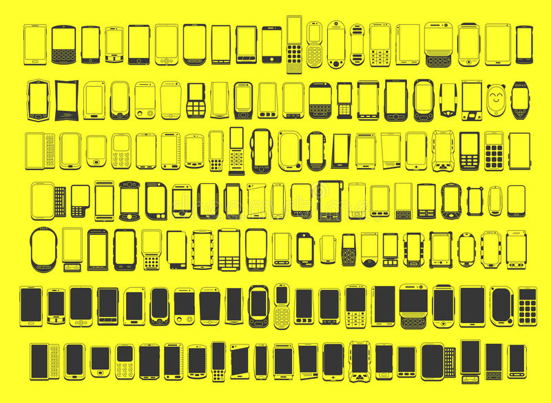 Large set of different abstract 100 mobile phones. For use in design vector illustration