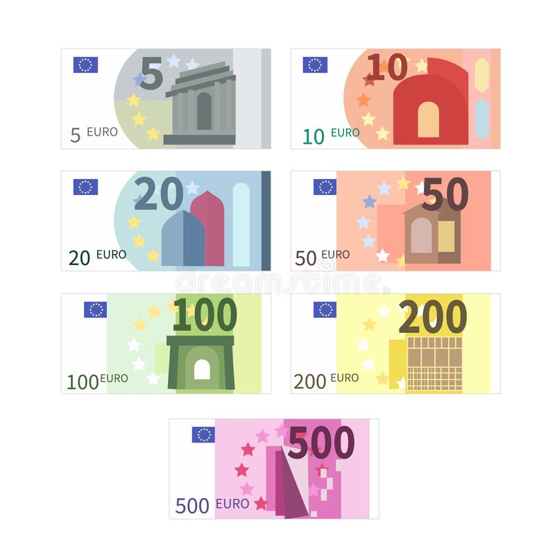 Large set of different euro banknotes. Five, ten, twenty, fifty, one hundred, two hundreds and five hundreds cupures on. Large set of different euro banknotes vector illustration