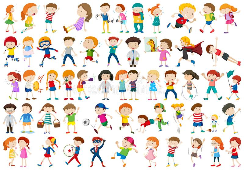 Large set of different kids. Illustration stock illustration