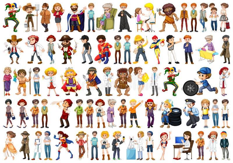 Large set of different people. Illustration royalty free illustration