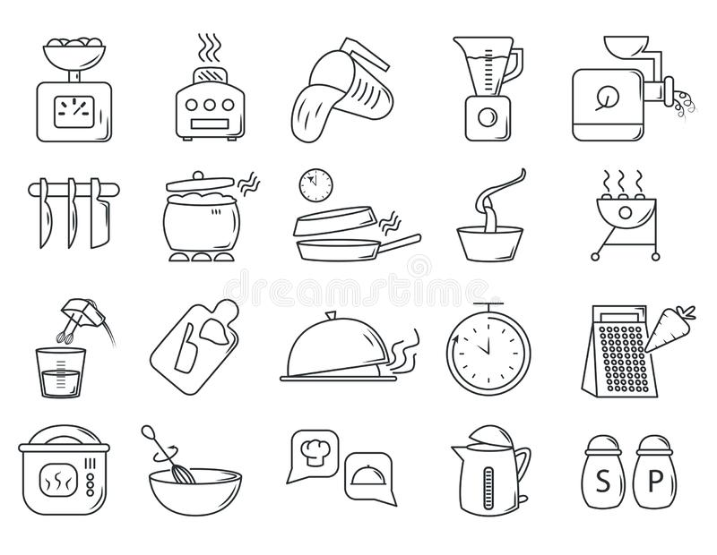Large set of 20 different restaurant icons royalty free illustration