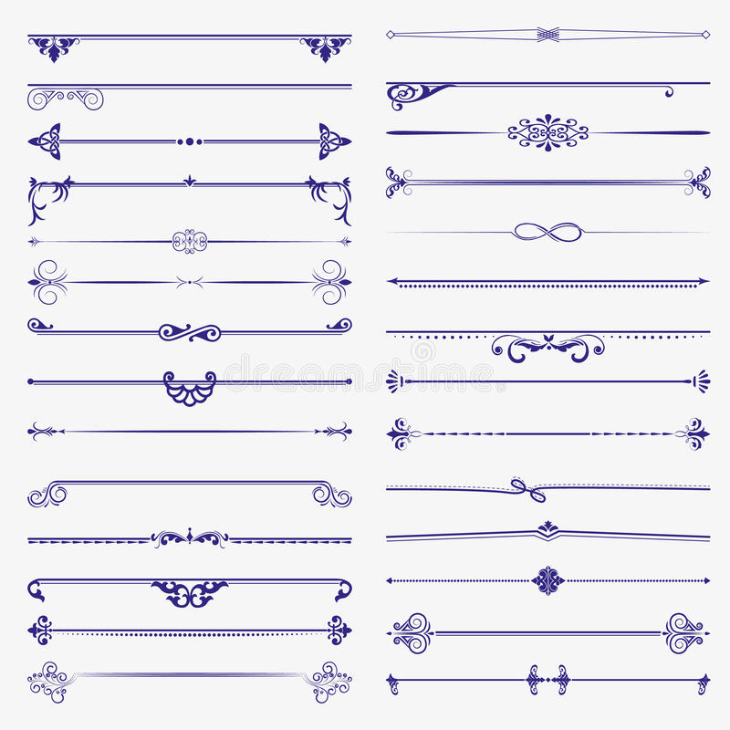 Large set of dividers. Vector calligraphic design elements and page decoration stock illustration