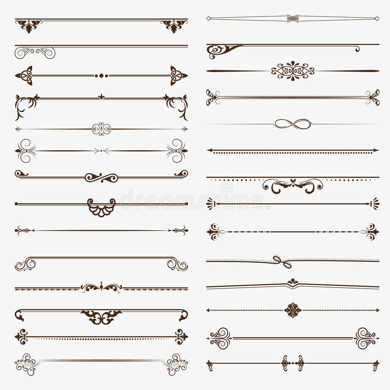 Large set of dividers. Vector calligraphic design elements and page decoration vector illustration
