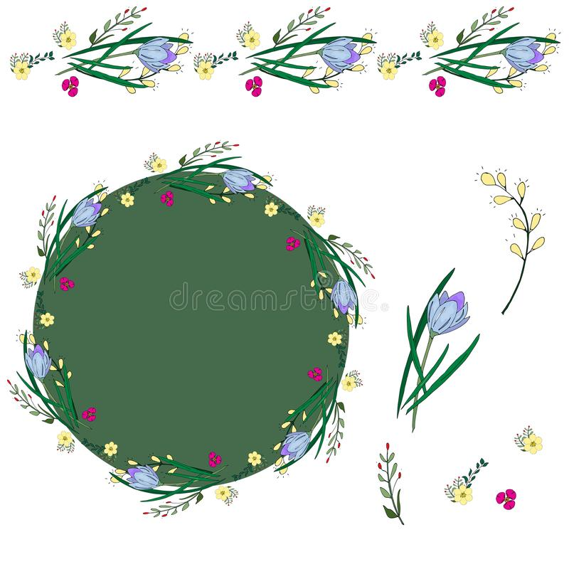 Large set of floral elements. Bright red poppies and purple whitewash. Seamless brush, wreath, bouquet, isolated flowers, leaves stock illustration