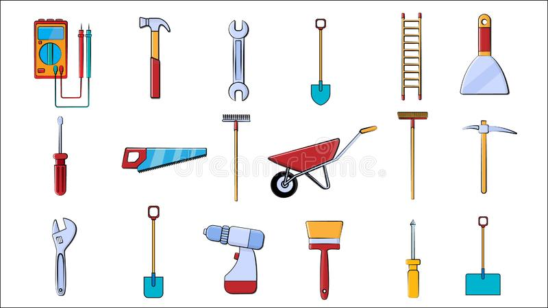 A large set of icons for construction, plumbing, garden, repair, tools shovel, wrenches multimeter, saw, hammer, brush, mop, rake vector illustration