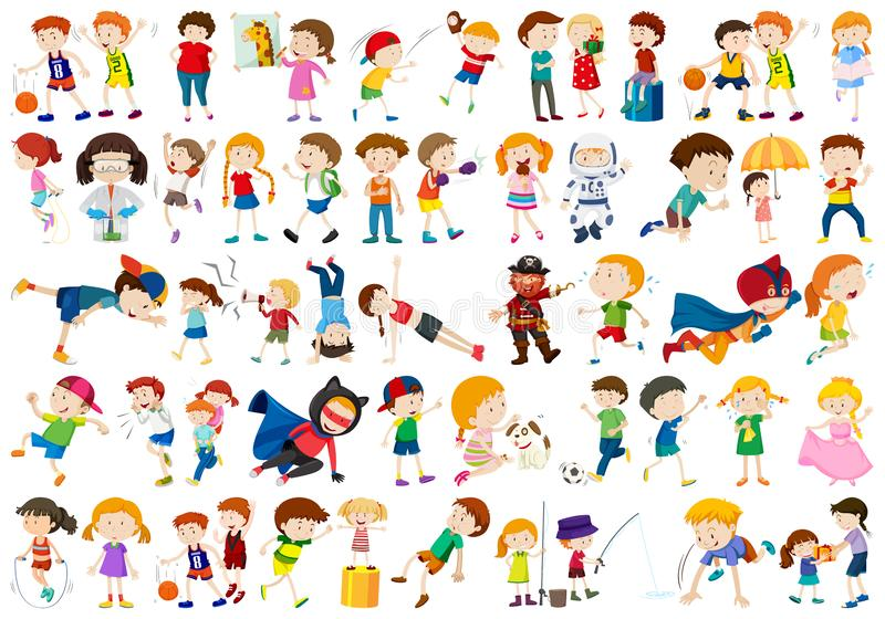 Large set of kids. Illustration stock illustration
