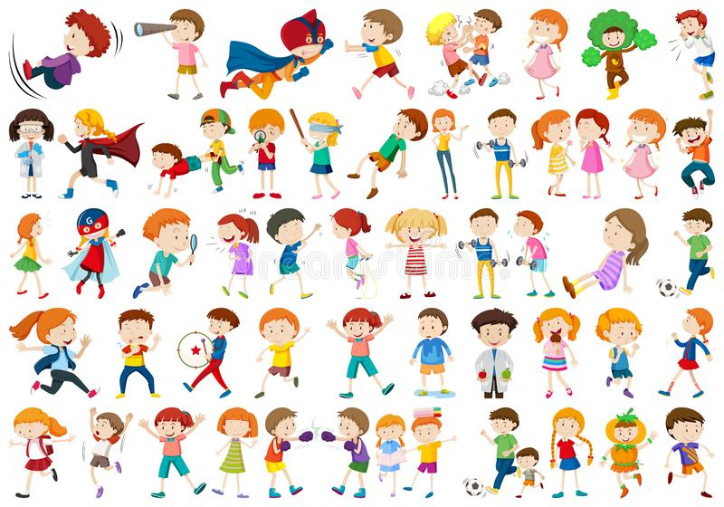 Large set of kids. Illustration royalty free illustration