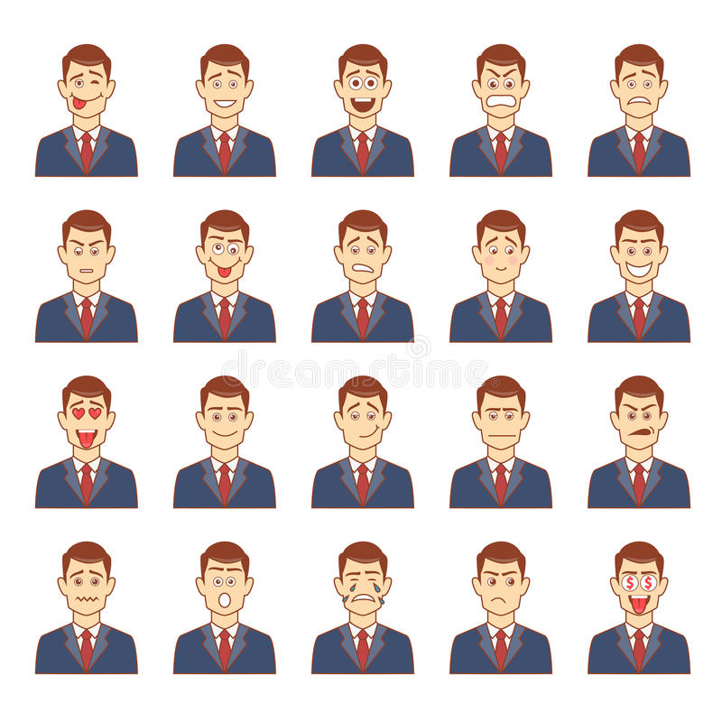 Large set of male emotions vector illustration
