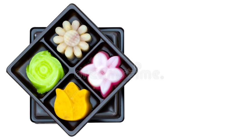 Large set of many shape and colorful traditional Thai Made for natural ingredients in original native fostyle sweet dessert in bla stock photography