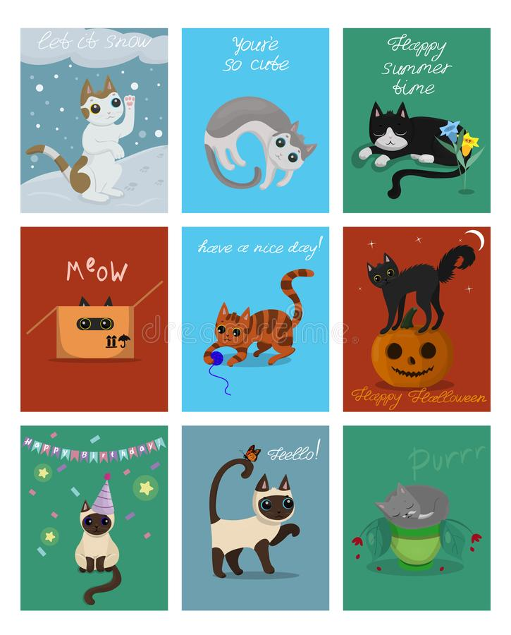 A large set of nine cards with kittens. Postcards for Christmas, Halloween, birthday and others. Vector clip art. A large set of nine cards with kittens royalty free illustration