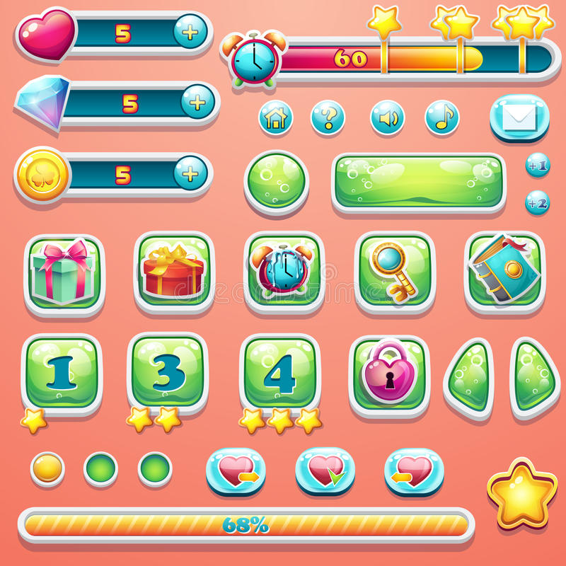 A large set of progress bars, buttons, boosters, icons for user. Interface design of computer games vector illustration