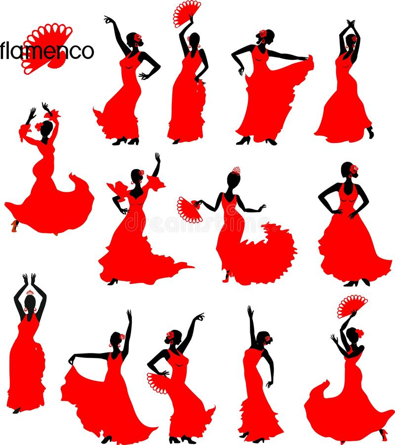 Large set of silhouettes of flamenco dancers in red dresses. On white background vector illustration