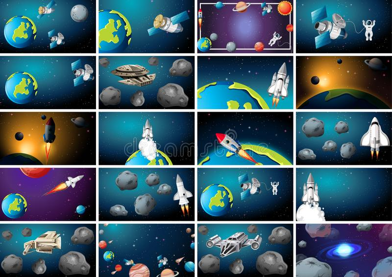 Large set of space scenes royalty free illustration