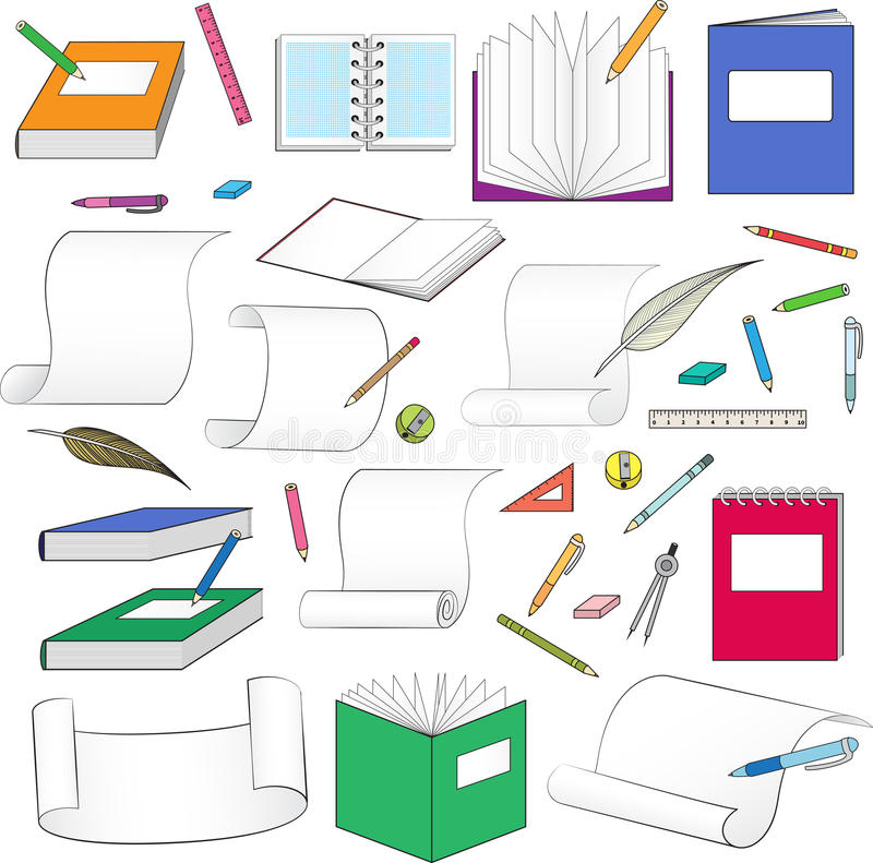 Download Large set of stationery stock illustration. Illustration of idea - 32564823