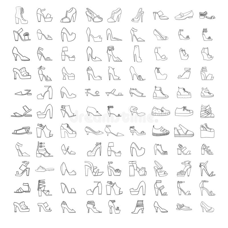 Large set with summer and spring shoes, sandals and sneakers with different heel types. Hand drawn collection of black outl stock illustration