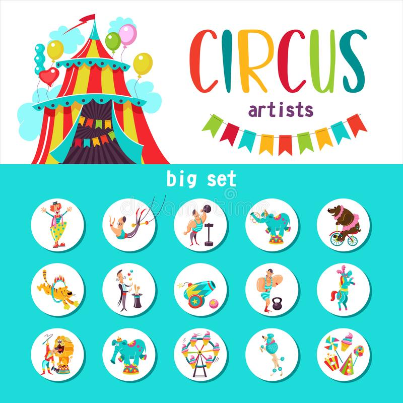 Large set of vector cliparts circus artists and trained animals. Vector illustration. royalty free illustration