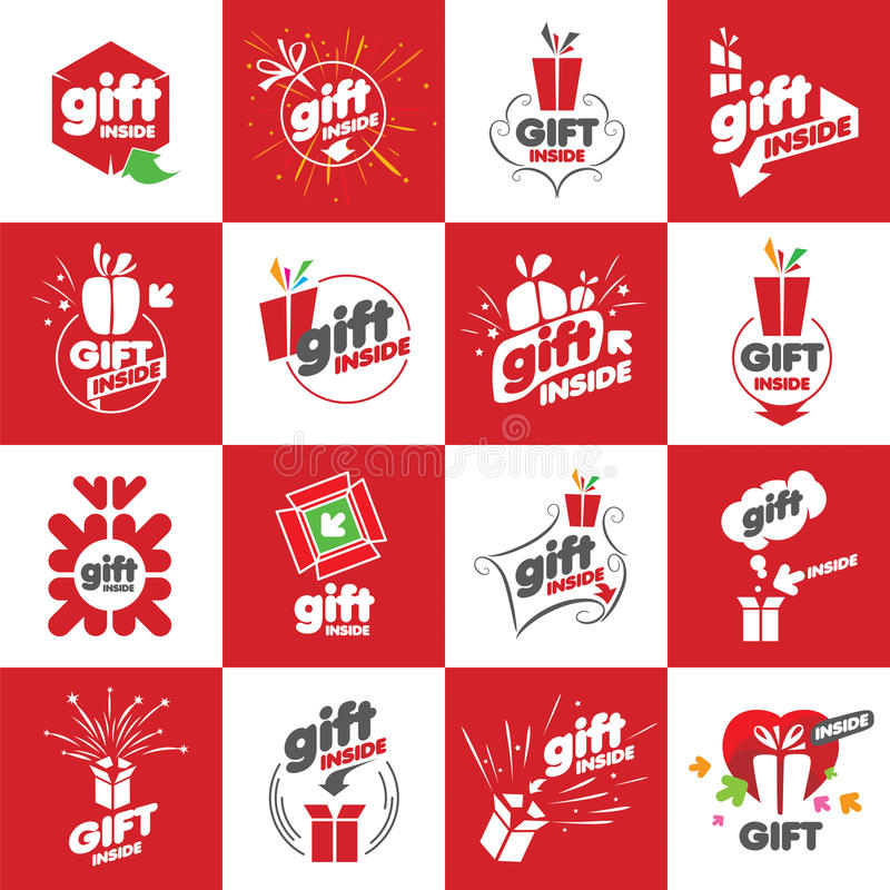 Large set of vector logos for gifts vector illustration