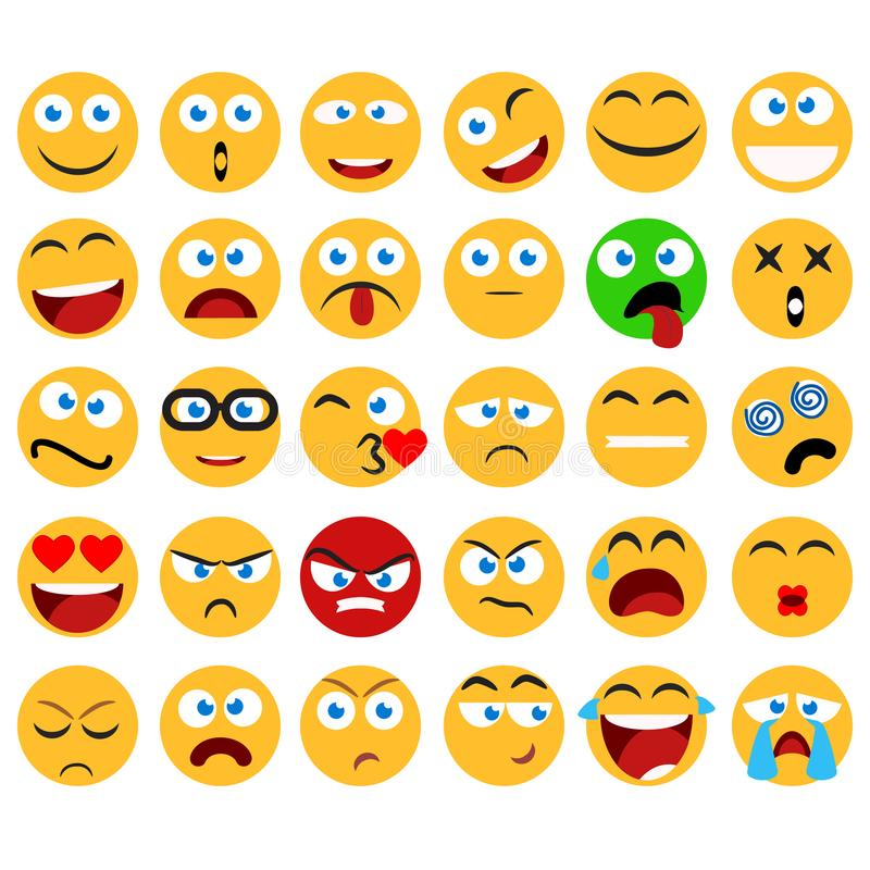 Large set of vector smiles, emoticons and emojis in minimalistic flat design. Funny and silly abstract facial expression icons co stock illustration