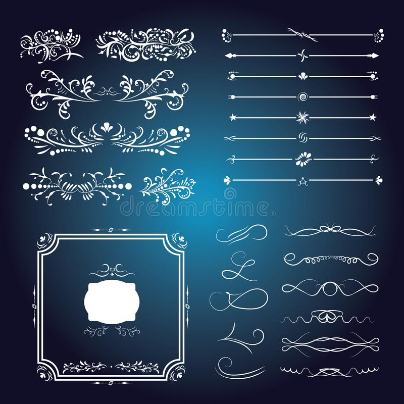 Large set of Victorian Calligraphic Swirls royalty free illustration
