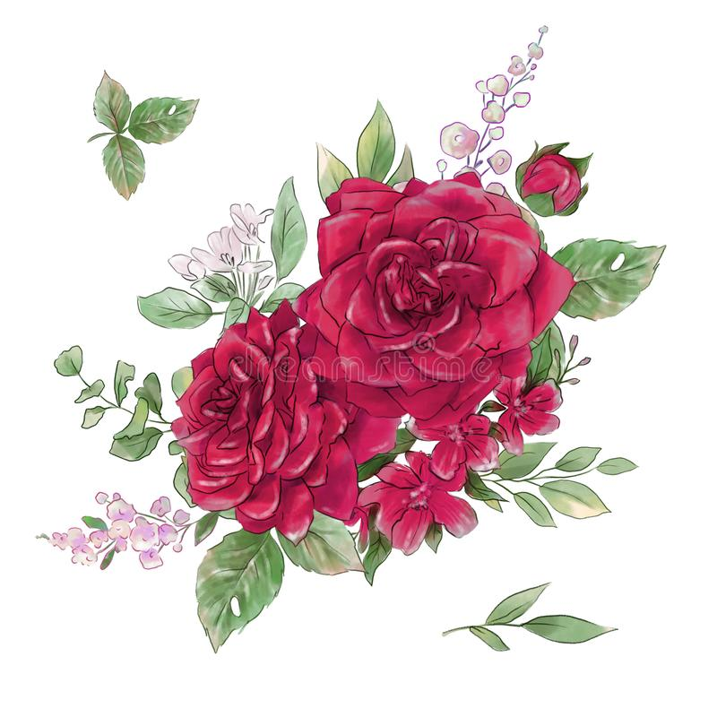 A large set of watercolors tender roses super quality. vector illustration