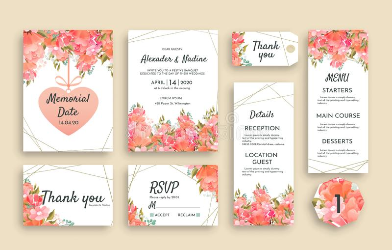Large set of wedding stationery with pink roses including different cards. RSVP, Thank You, Menu, Reception details stock illustration
