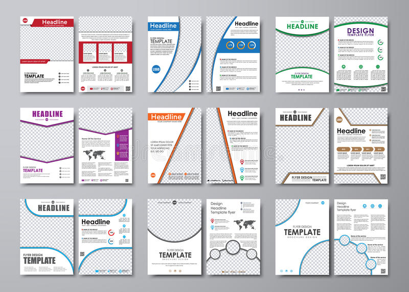 Large set of white flyers with space for photos and information royalty free illustration
