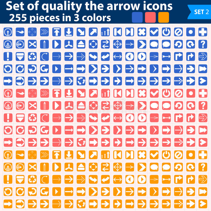 Download Large Set Of White Icons Pointing In Three Colors Stock Illustration - Illustration of connect, arrow: 32248938