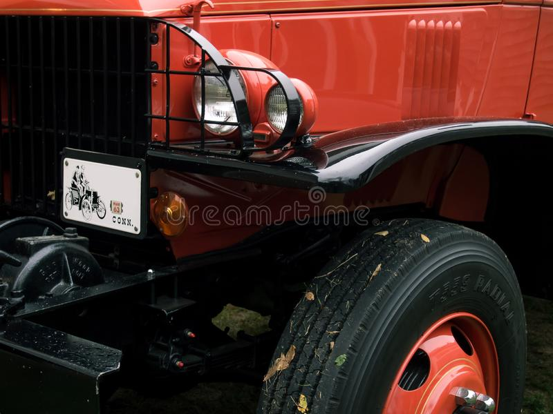 Large Red Classic Fire Truck at Car Show stock photography
