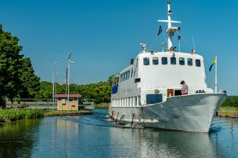 Large ship cruising on Gota Canal in Sweden royalty free stock photos