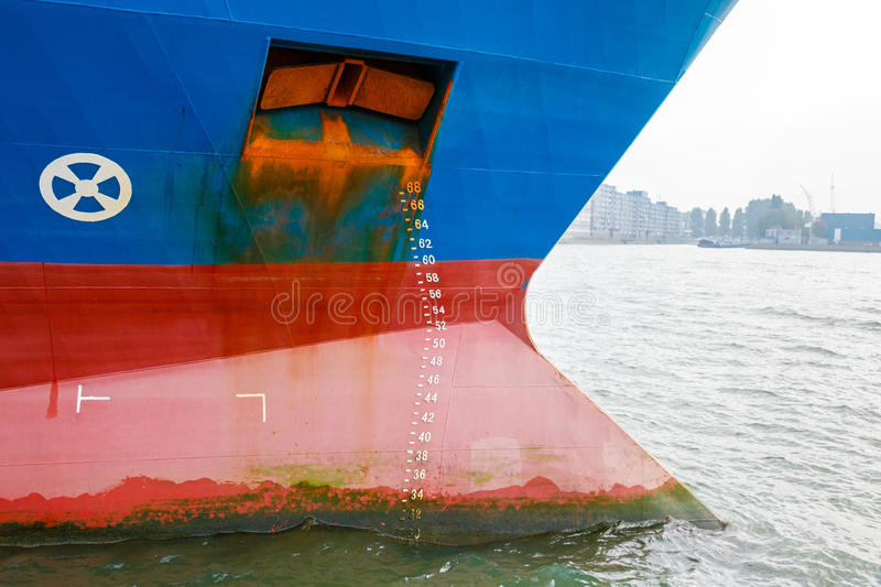 Large ship with draft scale stock photography