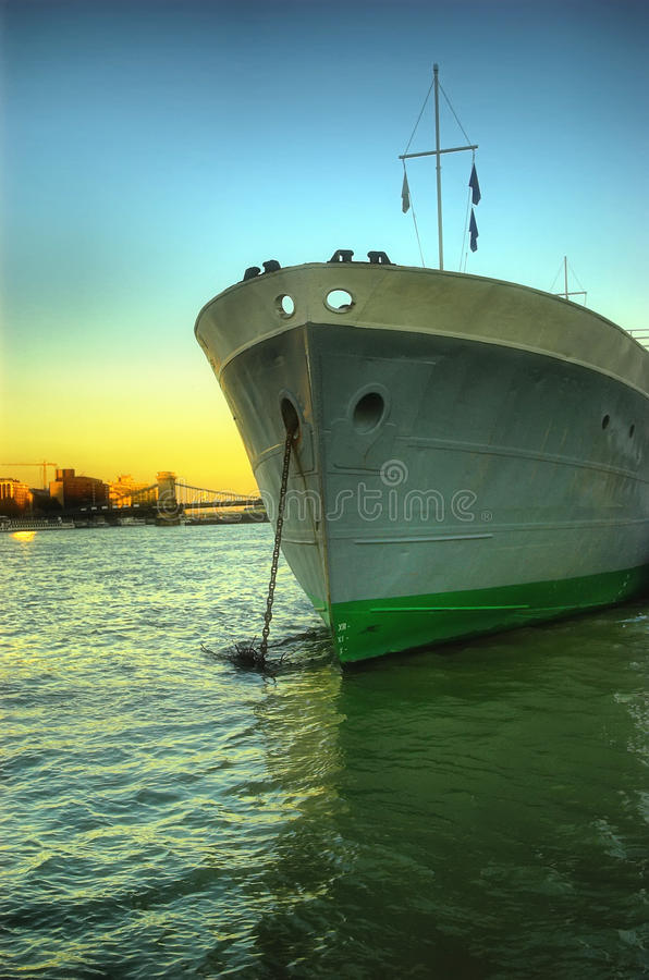 Download Large Ship Head On Shot At Sunset Stock Photo - Image: 26594316
