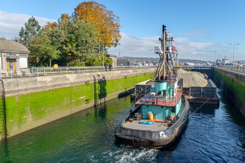 Large Ship leaving the locks Din Seattle royalty free stock photography