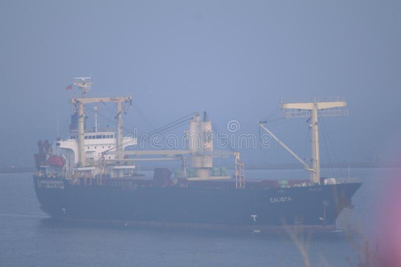 Large ship in the mist royalty free stock images