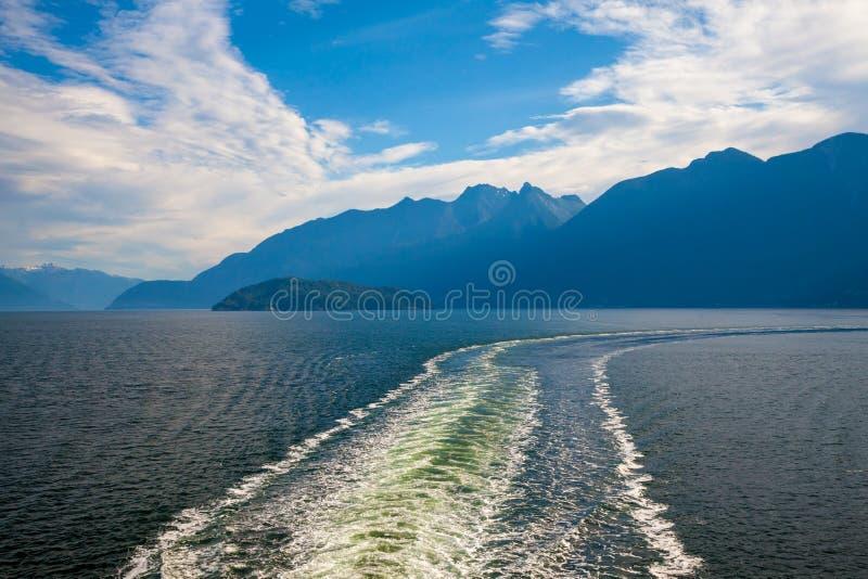 A large ship`s wake near the coast of British Columbia. Canada stock image