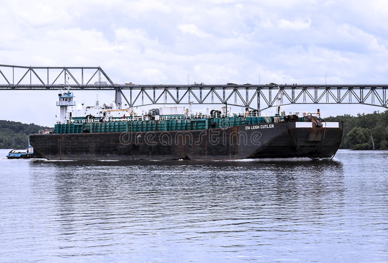 Large shipping boat on the hudson river royalty free stock photos